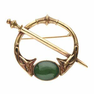 NEW Celtic Renaissance Bronze Brooch Pin Stone